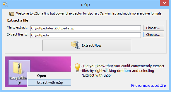 uZip screenshot 1 - The main window of uZip allows you to load the compressed files that you want to work with