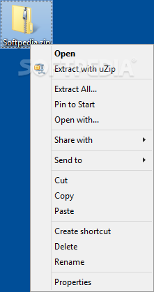 uZip screenshot 3 - uZip integrates to your Windows context menu, enabling you to unzip archives with just two clicks